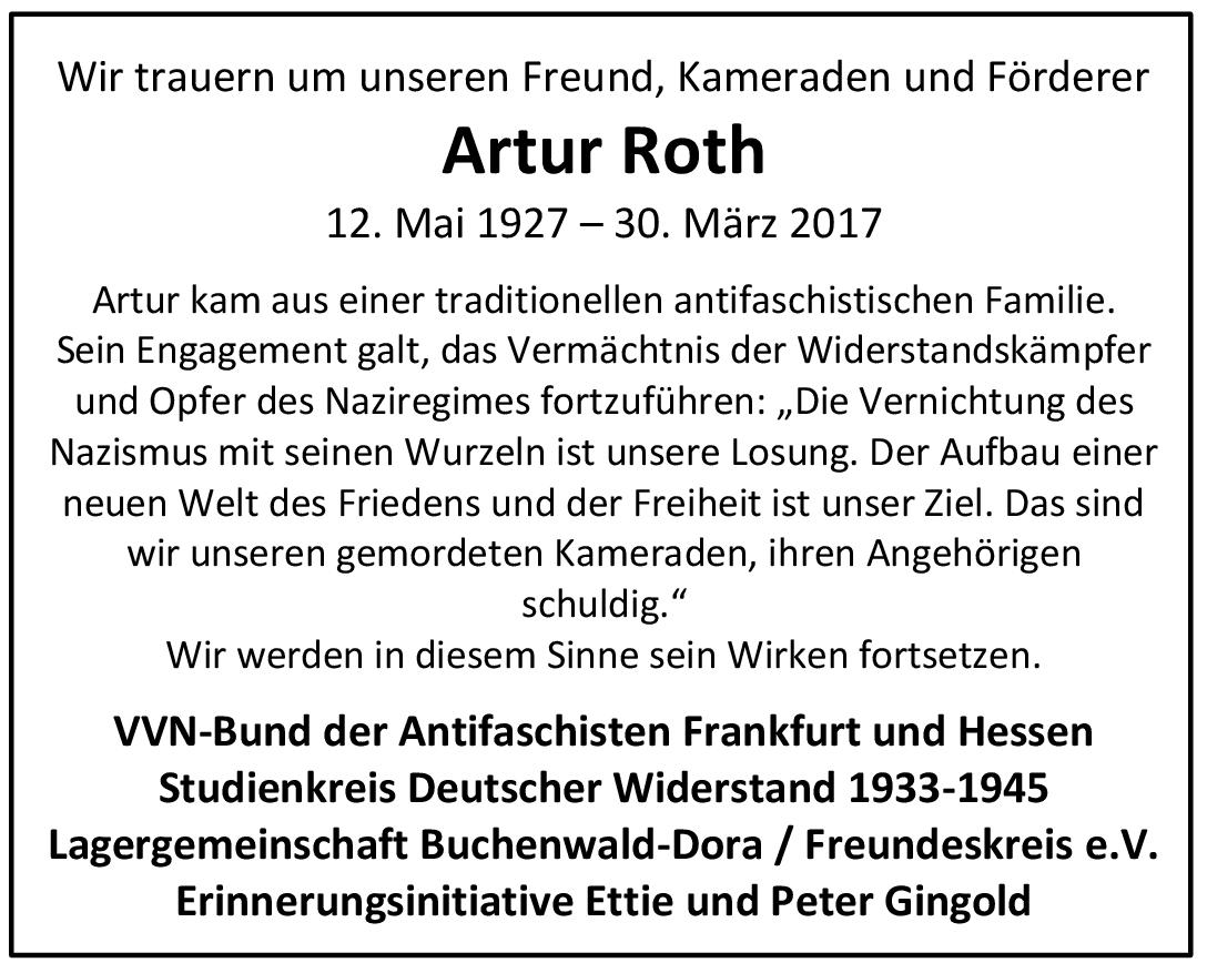Traueranzeige_Artur Roth